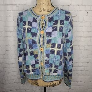 Knitted By Hand Checkered Blue Cardigan Sweater